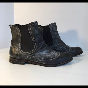 Crown Vintage Ankle Boots Slip-on Black Wash EUC
